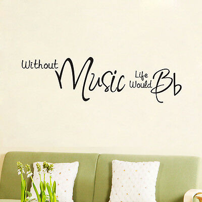 Home Decoration - Without music life stickers wall Quote Removable Art Vinyl Decor Home Kids Au