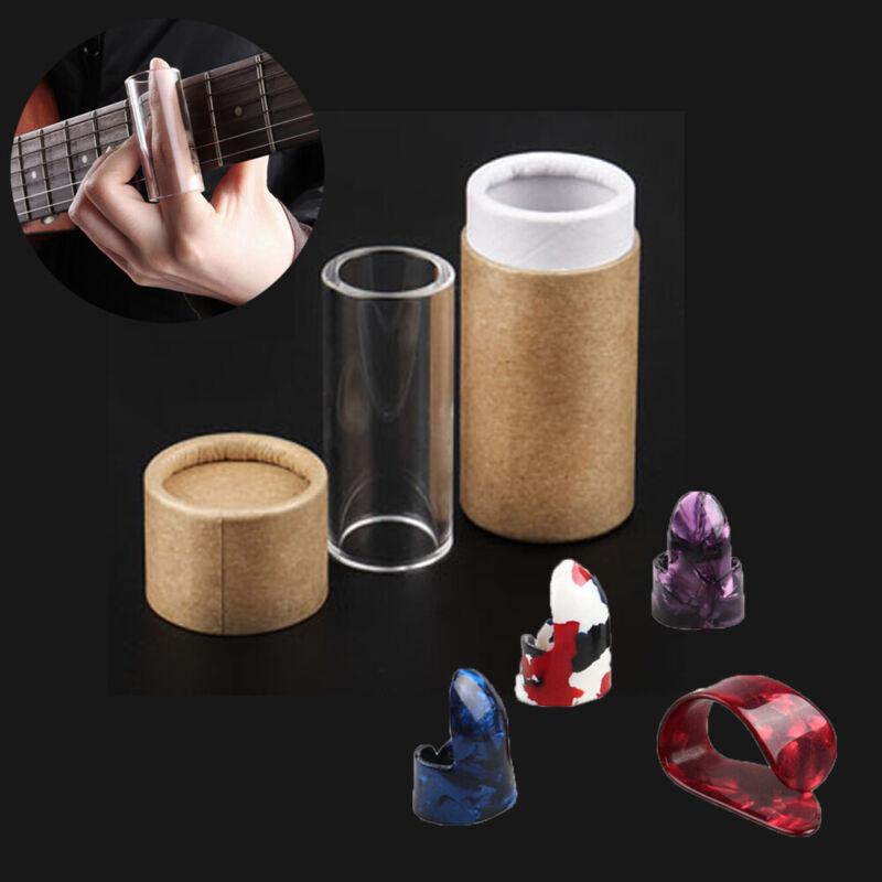 Guitar Slide Bar Slider Glass Stick String Tube & 4PCS 60mm Guitar Finger Picks