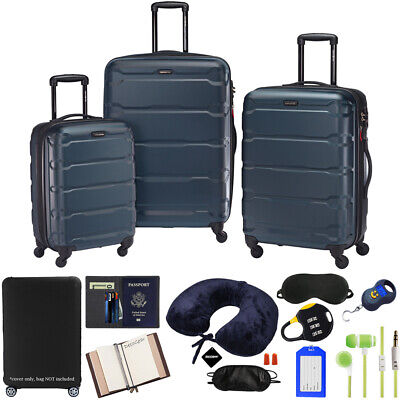 Samsonite Omni Hardside Nested Luggage Spinner Set, Teal w/ 10pc Accessory Kit