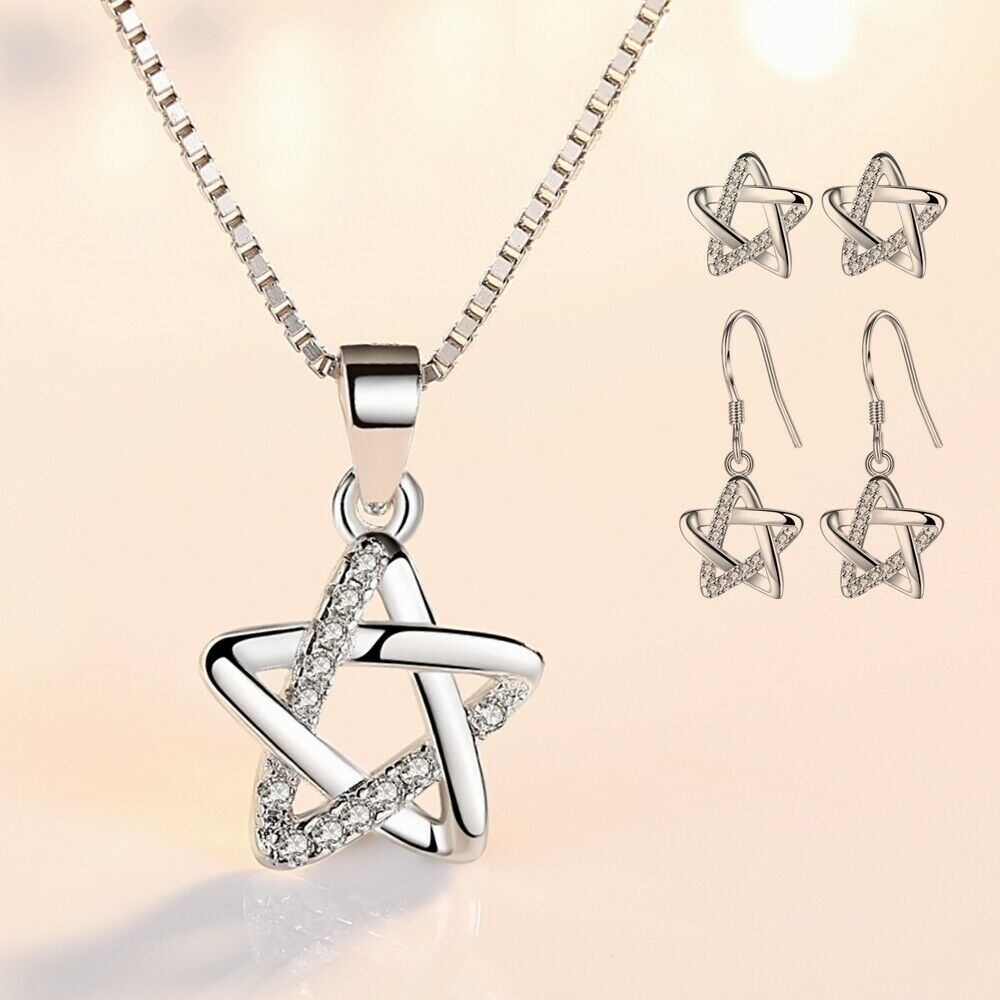 Jewellery - 925 Sterling Silver Crystal Star Chain Necklace Stud Earrings Womens Jewellery