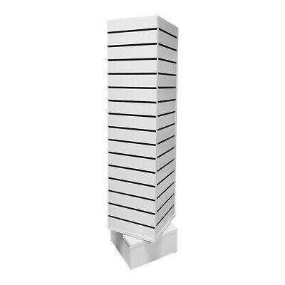 White 12 X 12 X 54 Revolving Slatwall Floor Display Rotating 4 Sided