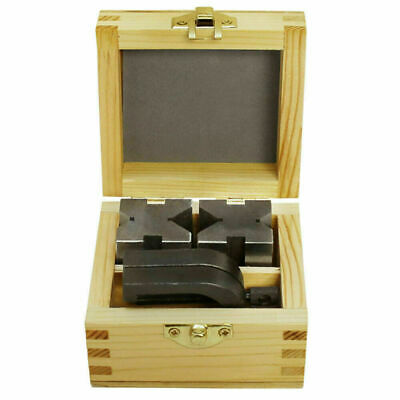 New Precision Engineers Vee Blocks Clamp Set -v Block Matched Pair Wooden Box