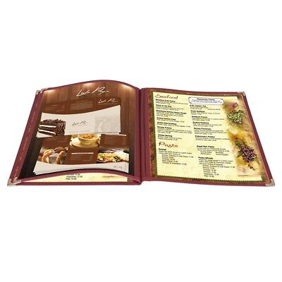 30 Pack Menu Cover 6 View 3 Page Book Fold Burgundy 8.5 X 11 Inches Insert
