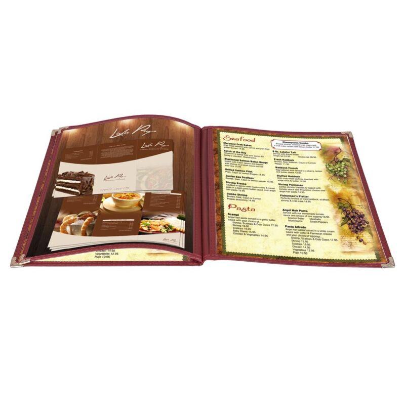 30 Pack 8.5x11 6 View 3 Page Menu Cover Burgundy Trim Trifold Transparent Volume