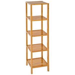5 tier bamboo wooden kitchen bath bathroom shelf rack - Wooden kitchen shelf unit ...