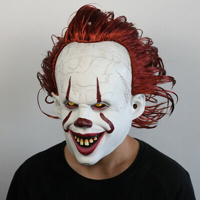 Latex Horror LED Maske Halloween Pennywise Cosplay Clown Fasching Kostüme DE