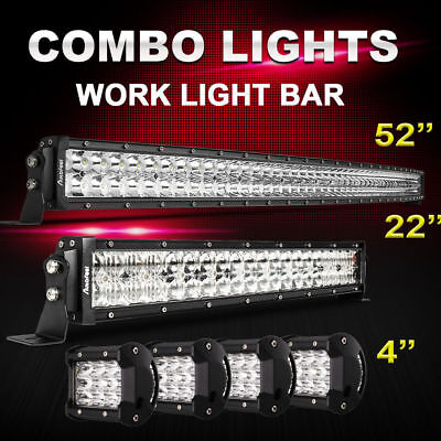 """CURVED 52Inch LED Light Bar Combo + 22in +4"""" CREE PODS OFFROAD SUV FORD JEEP 20"""""""