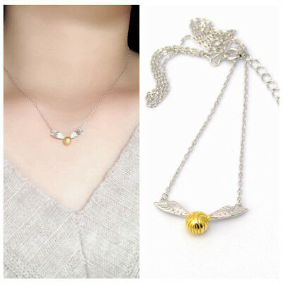US Ship Harry Potter Golden Snitch  Wings Necklace 925 Sterling Silver Pendant segunda mano  Embacar hacia Argentina