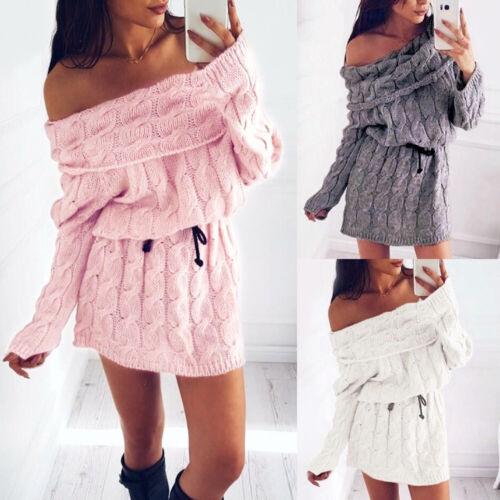 Damen Sexy Strickkleid Sweater Party Langarm Pullover Pulli Kleider Minikleid