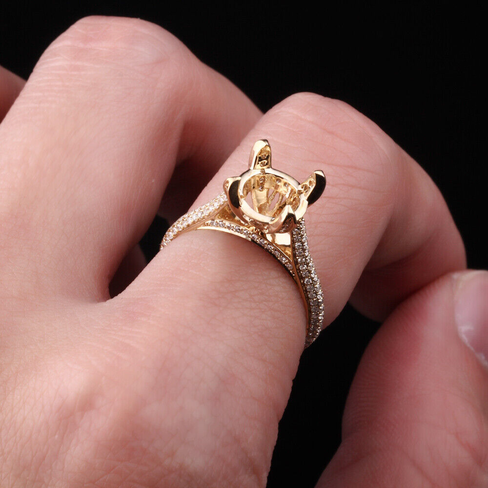 7mm Round Natural Diamond Semi Mount Ring 14K Yellow Gold Band Duo ...