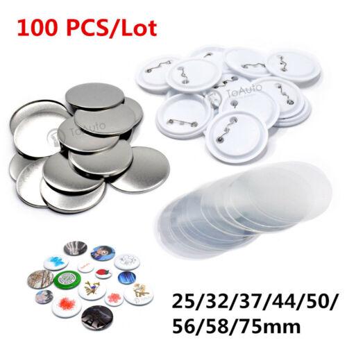 100PCS Blank Badge Parts Supplies Pin Materials For Button Maker Machine DIY