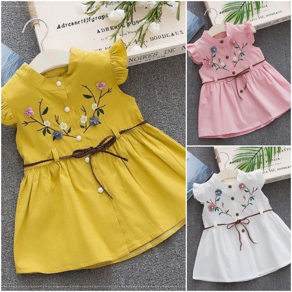 New Summer Princess Cotton Baby Girl Embroidered Dress Peach