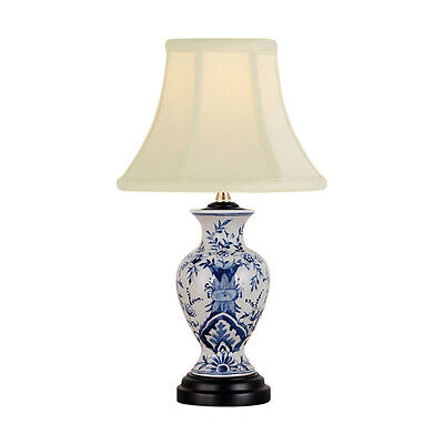 Beautiful Blue and White Porcelain Floral Motif Vase Table Lamp 15.5""