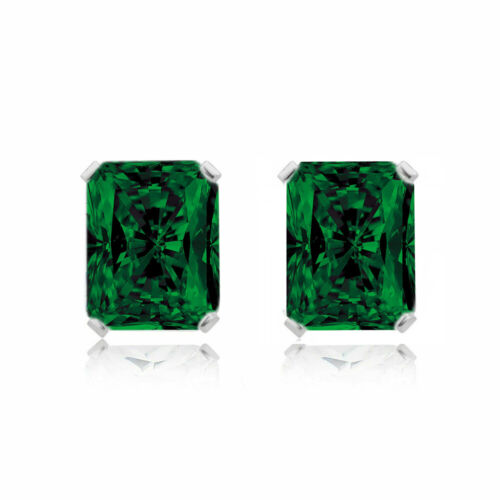 Natural 925 Sterling Silver 2.00CTTW Emerald Cut Emerald Stud Earrings 7x5MM