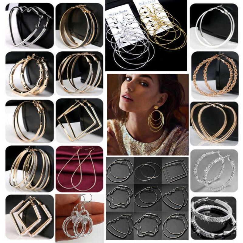 Women Simple Large Hoop Earrings Thin Metal Rope Big Hoops H