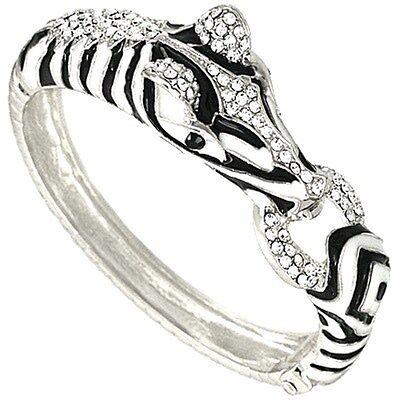 Crystal Hinge -  Zebra  Enamel  and  Crystal  Hinge Bangle Bracelet  Gift Boxed Fast Shipping