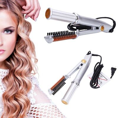 Professional 3-Mode 2-Way Rotating Curling Iron Hair Brush Curler Straightener