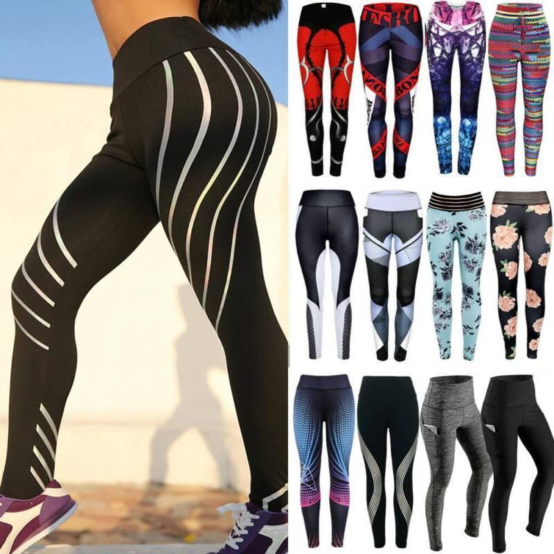 Women Ruched Push Up Leggings Yoga Pants Anti Cellulite Sport Scrunch Trousers 6