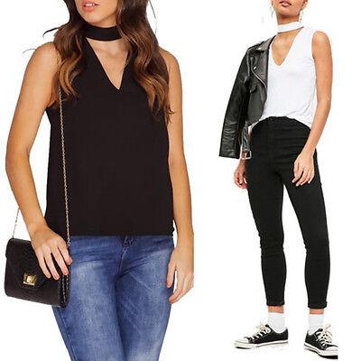Womens Cut Out Plunge Blouse V-Neck Collar Choker High Neck Tank T-Shirt Top