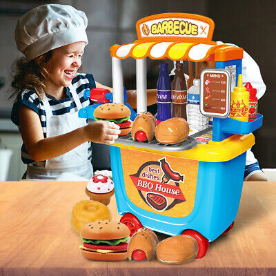 BBQ PRETEND PLAY KITCHEN SET Toys Grill For Kid Toddler Children Food Cooking