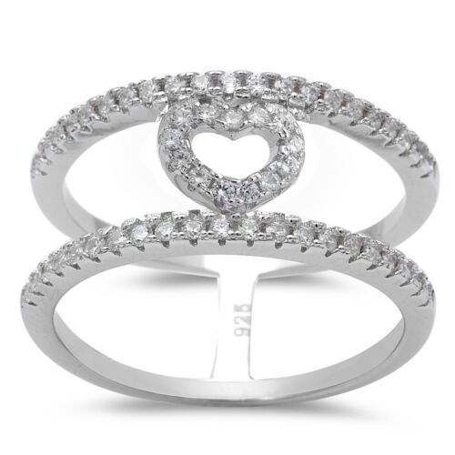 Cubic Zirconia Heart Fashion Band .925 Sterling Silver Ring