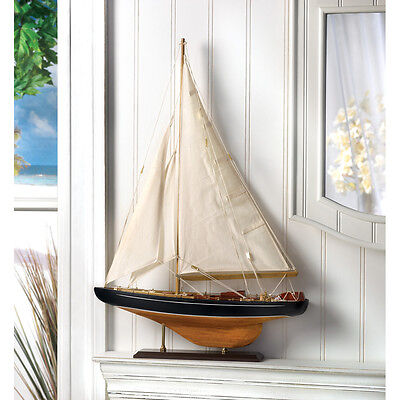 BERMUDA TALL SHIP WOODEN MODEL NAUTICAL OCEAN SAILBOAT DECOR~14749