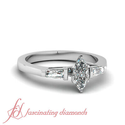.65 Ct Marquise Cut SI1-D Color Diamond Three Stone Engagement Ring Bar Set GIA