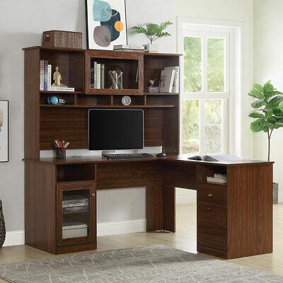 L-shaped Computer Desk Wreversible Hutch Drawer Cabinet Shelf Workstation Table