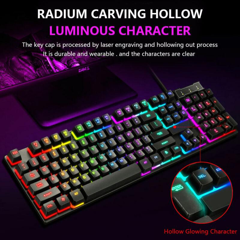 Ensemble clavier et souris jeu rainbow led usb illuminé pour pc portable ps5  uv