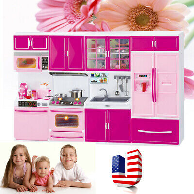 Kitchen Pretend Play Cooking Set Cabinet Stove Toy Kids Children Gift Quality-US