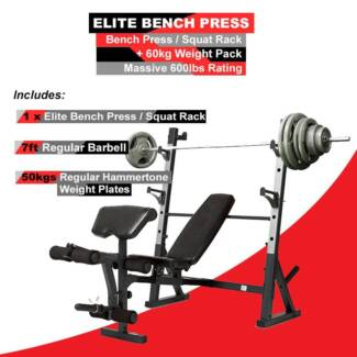 NEW ELITE BENCH PRESS WITH 60KGS WEIGHTS SET PACK **PRICE REDUCED