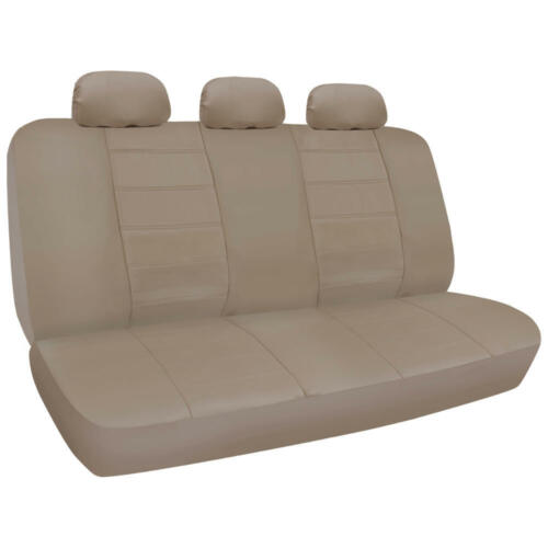 PU Synthetic Leather Beige Car Seat Cover Genuine Leather Feel Front & Rear Set