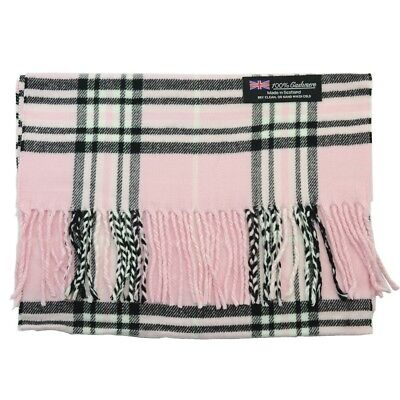 Men Women 100% CASHMERE Scarf tartan Plaid Design Soft MADE IN SCOTLAND Light Pk - Woman In Light