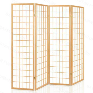 4/6 Solid Pine Wood Panel Room Divider Natual/White/Black