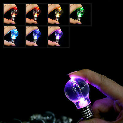Creative LED Colorful Flash Lights Mini Bulb Torch Key Chain Keyring Gift New
