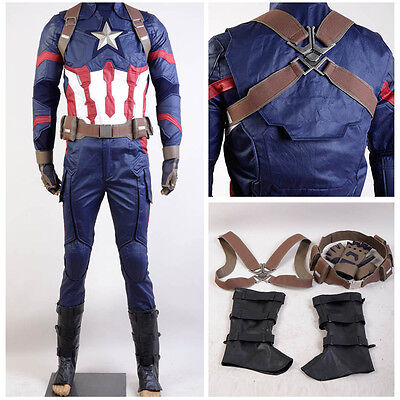 Avengers Captain America:Civil War Steve Rogers Cosplay Costume Men Army Suit