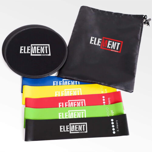 Element Monkey Disc Core Sliders and 5 Exercise Resistance Loop Bands Bundle