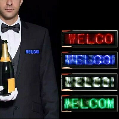 Mini Led Digital Programmable Scrolling Name Message Tag Badge Sign 4 Color New