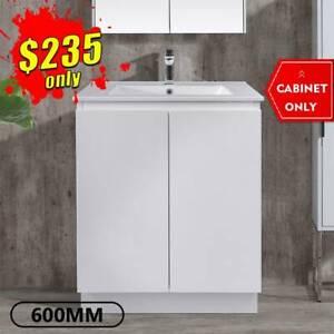 Bathroom Vanity 600mm Freestanding Cabinet Finger Pull LUCA *NEW*
