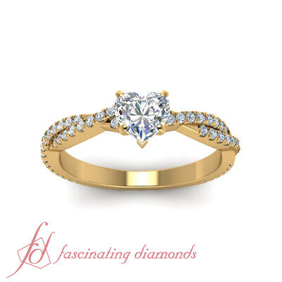1.35 Ct Diamond Engagement Ring Pave Set With Natural Heart Shaped In Center GIA 1