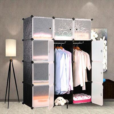 DIY Regalsystem Kleiderschrank Garderobe Regal Steckregal 12 Boxen mit Türen Neu (Garderobe Mit Regal)
