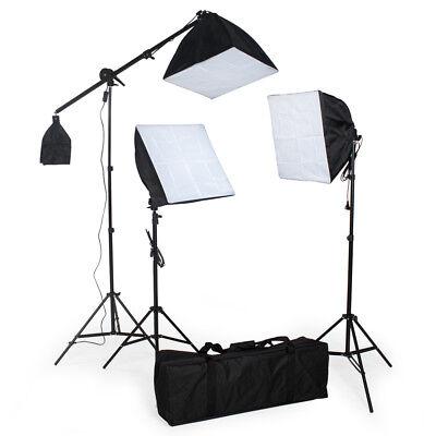 3x Illuminazione set studio foto lampada flash kit softbox stativo fotografia usato  Italia