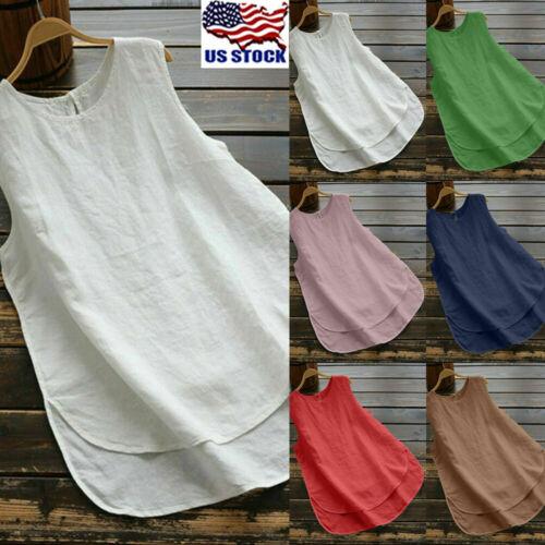 Plus Size Women Cotton Linen Sleeveless Blouse Tank Tops Cas