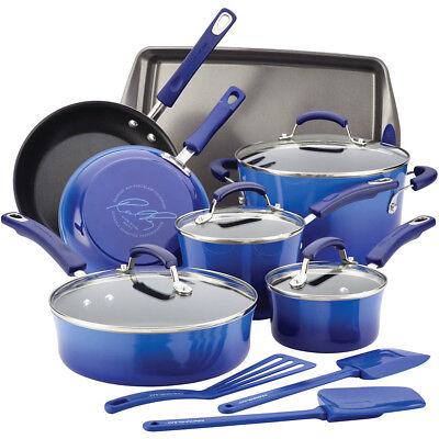 Rachael Ray 14-Piece Hard Enamel Nonstick Cookware Set - Blue Gradient, used for sale  Nolensville