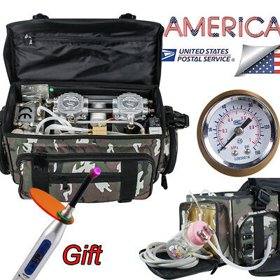 Usa 24 Hole Dental Turbine Unit Air Compressor Portable Carry Bag For Outdoor
