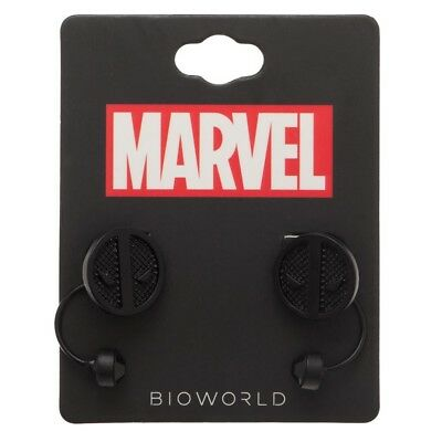 Official Logo Earrings (DEADPOOL Earrings Logo Black on Black Front Back Marvel Comics Official Bioworld )