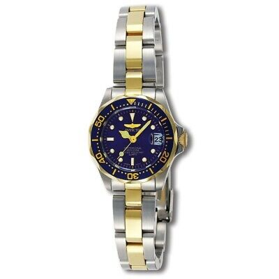 Invicta Women's Watch Pro Diver Quartz Blue Dial Two Tone Steel Bracelet 8942