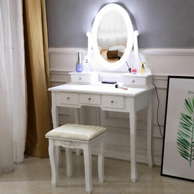 - White Makeup Vanity Table Set with 10 Lights Mirror and 5 Drawers Dressing Desk