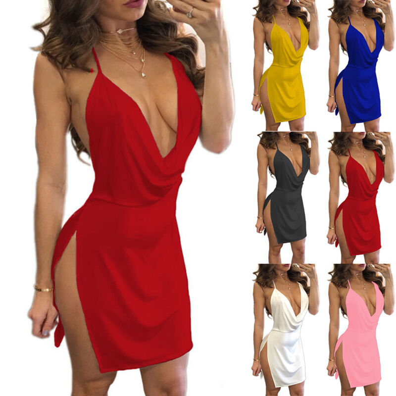 Women Sexy Sleeveless Bandage Bodycon Evening Party Cocktail Mini Dress Clubwear Clothing, Shoes & Accessories