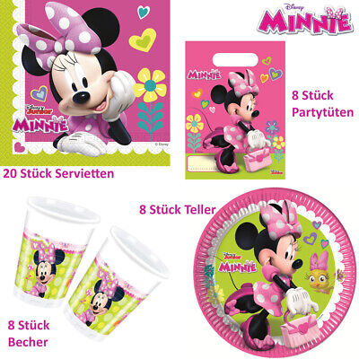 44tlg-Set mit Servietten Plastikbecher Pappteller Partytüten (Minnie Mouse Servietten)